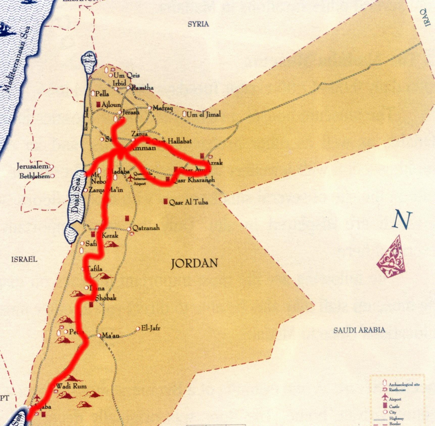 landkarte jordanien